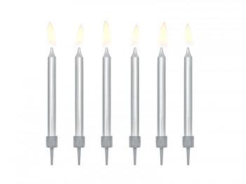 Svíčky na dort stříbrné 6 ks