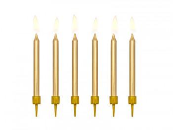 Svíčky na dort zlaté 6 ks