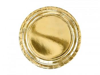 Talíře papírové zlaté 23 cm 6 ks
